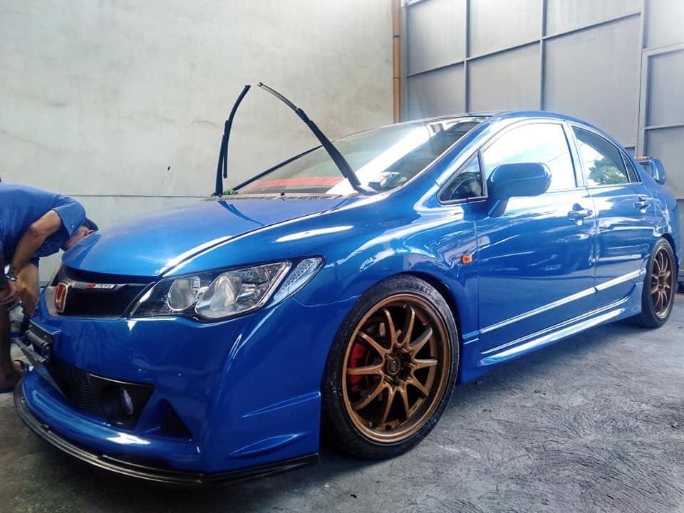 Customized blue car that looks good